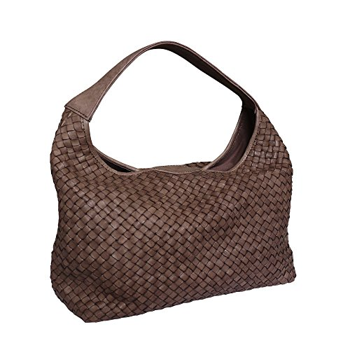 Woven Handbag Italian Bucket Leather Bag Paolo Washed Hand Masi Shoulder Hobo Brown EqwAcO8c