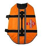 Pet Leso Dog Life Jacket - Adjustable Life Jackets for Pets with Safety Reflective Vest Pet Life Preserver, Orange L