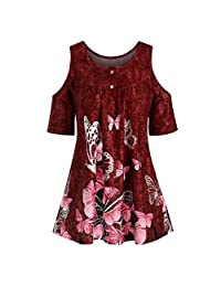 MISYAA Cold-Shoulder Tunic Tops Womens Short Sleeve Butterfly Print Plus-Size Blouses Crew Neck Pullover Basic Shirts XL-5XL