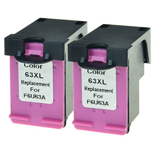 GREENCYCLE Remanufactured 63XL F6U63A High Yield Color Ink Cartridge Compatible for InkJet DeskJet 1110 1112 2130 3636 ENVY 4512 4520 OfficeJet 3830 3831 4655 Series Printer ( Tri-Color,2 Pack)