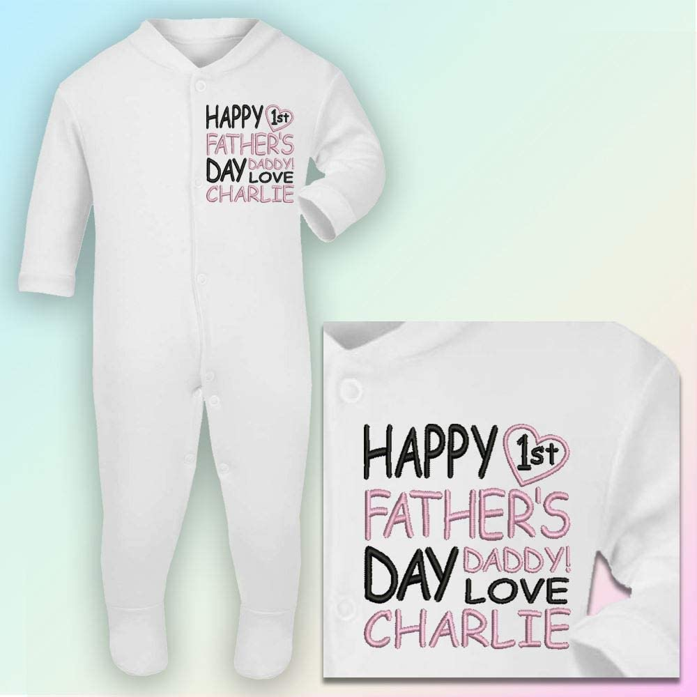 Black /& Red Thread 0-3 Months Embroidered Happy 1st Fathers Day Sleepsuit in White