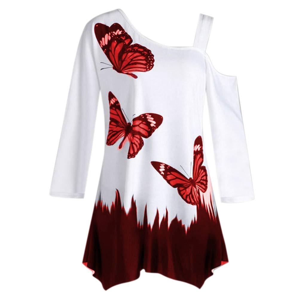 467eb6c2791 Amazon.com: POTO Shirts Clearance,Women Butterfly Print One Shoulder Tunic  T-Shirt Long Sleeve Loose Tops Blouse Sweatshirt: Clothing