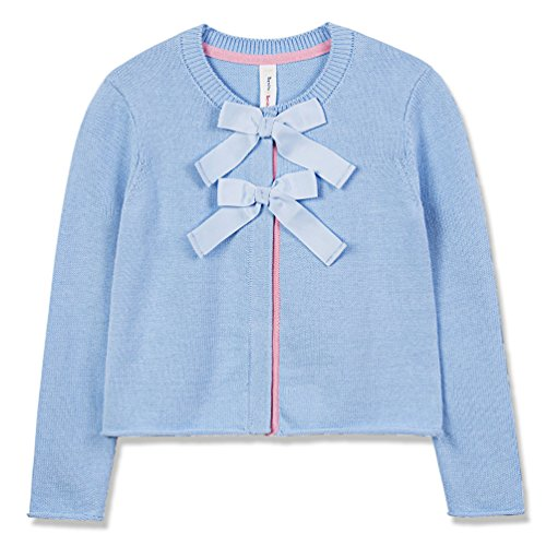 Benito & Benita Girl Cardigan, Little Girl Cardigan Sweaters with Front Bows Long Sleeve Knitted Outwear Light Blue