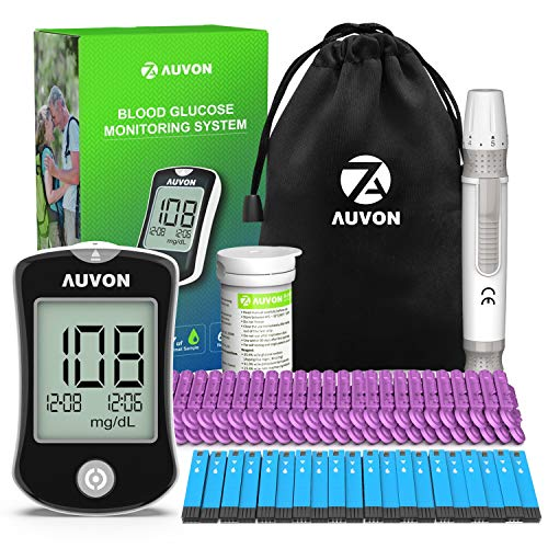 AUVON DS-W Blood Sugar Kit (No Coding Required), High-Tech Diabetes Blood Glucose Meter with 50 Test Strips, 50 30G Lancets, Lancing Device best to buy