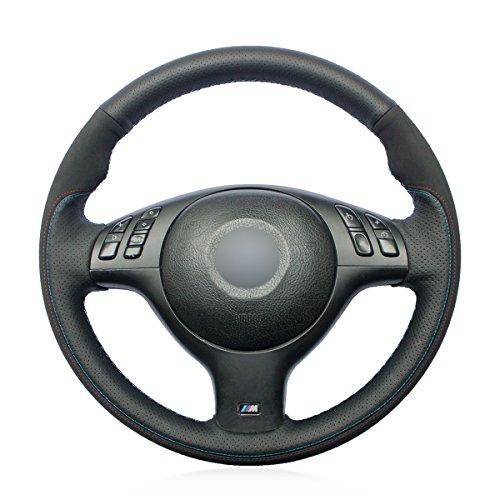 Mewant DIY Handmade Breathable Customized Black Genuine Leather Black Suede Auto Steering Wheel Cover for BMW E46 E39 330i 540i 525i 530i 330Ci M3 2001-2003 (Wheel 540i Bmw)