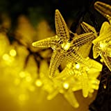 LED SopoTek 4.8meters 20LED Bulbs Starfish Solar Fairy String Lights for Outdoor Decorative Gardens Lawn, Patio, Christmas Trees, Weddings,Indoor and Outdoor Use (20LED Warm white)