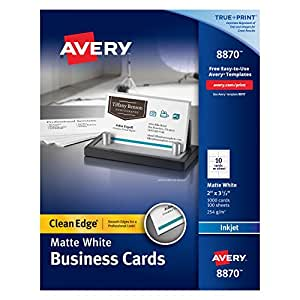 Avery Two-Side Printable Clean Edge Business Cards for Inkjet Printers, White, Matte, Box of 1000 (8870)