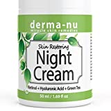 Anti Aging Night Cream for Face - Natural Skin & Neck Firming Anti Wrinkle Moisturizer - Age Defying Hydrating Care with Retinol, Hyaluronic Acid and Green Tea for Sensitive, Dry or Oily skin