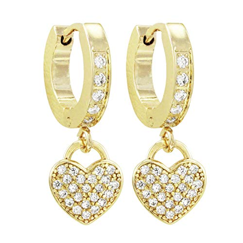 Steel Dangling Heart - Ivy and Max Girl's Surgical Steel Cubic Zirconia Dangling Hearts Earrings (Gold)
