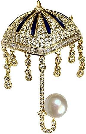 Haespsd Broche de Paraguas de Lluvia de Perlas Naturales se Puede Utilizar como Collar Colgante Broche de Pin de Chaqueta de Moda