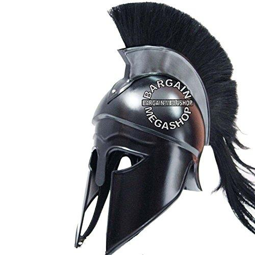 Black Shiny Helmet - Medieval Roman Spartan GREEK CORINTHIAN HELMET Larp Sca Role-Play Armor Helmet Greek Corinthian Helmet with black Plume & Black Finish