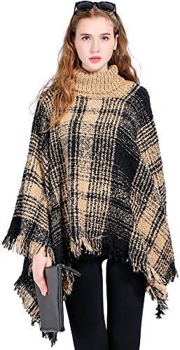 otioti Womens Poncho Jerseys Invierno Cálido gruesa chales Wraps Reversible de punto con borla Plus tamaño