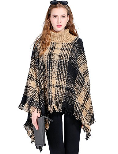 Poncho Top Wrap (Women's Turtleneck Poncho Sweater Knitted Pullover Capes Tassel Shawl Black and Yellow Plaid)
