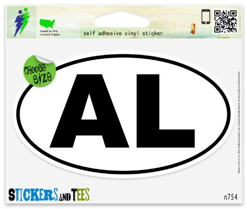Alabama AL White State Oval Vinyl Car Bumper Window Sticker 3