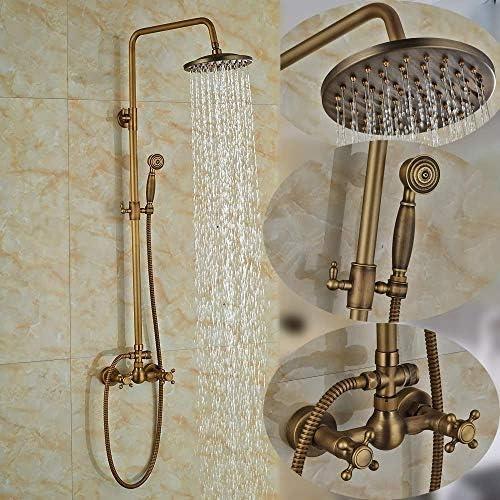 アンティーク真鍮:壁は、W/ハンドヘルドシャワー、色名称浴室のシャワーセット蛇口アンティーク真鍮のシャワーのミキサーのタップをマウント (Color : Antique Brass)
