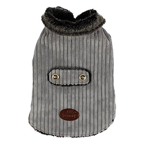 Abrigo para perros Nobleza, acolchado y de pana gris, largo 40cm. Envío gratis.