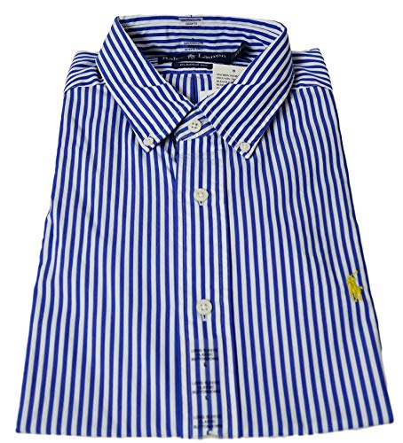 Ralph Lauren Polo Striped Blue and White Long Sleeve Classics Fit Dress Shirt, Size L