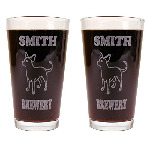 Personalized Custom Beer Mugs With Dog Breeds - 2 Pack of Made in USA Pint Glasses (Chihuahua)