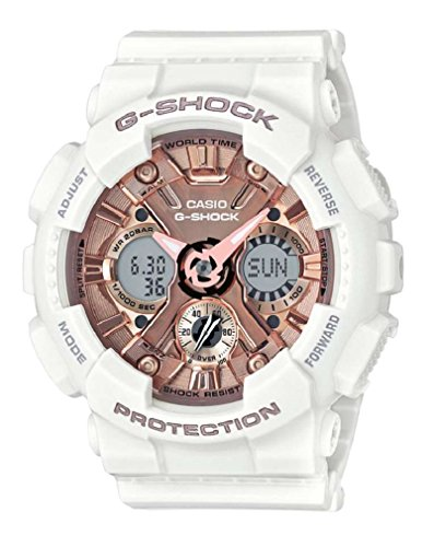 Casio Women's 'G SHOCK' Quartz Stainless Steel and Resin Casual Watch, Color:White (Model: GMA-S120MF-7A2CR) (Time World Countdown Stopwatch Timer)