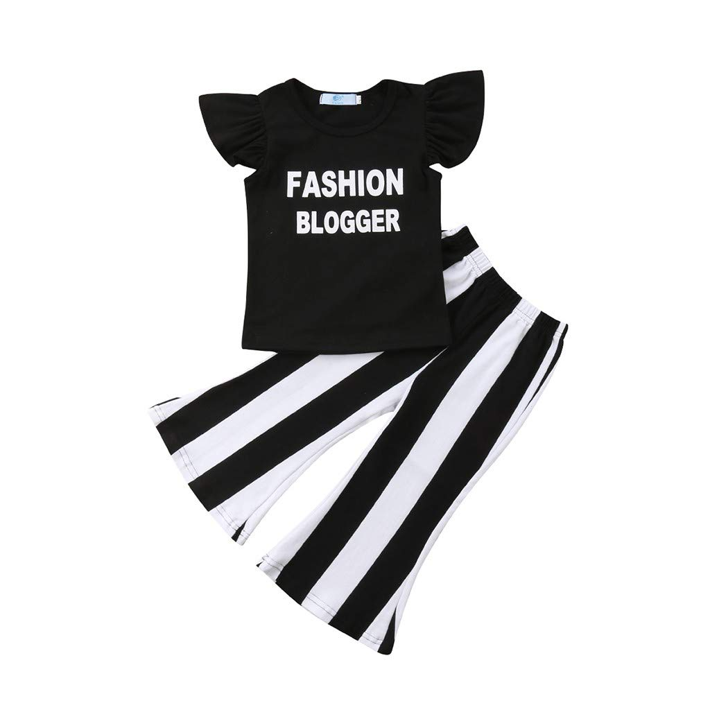 Little Girl Summer Set,Jchen Infant Kids Girls Letter Print Ruffle Crop Tops +Flared Striped Pants Casual Outfits for 0-4 Yrs (Age:12-18 Months, Black)