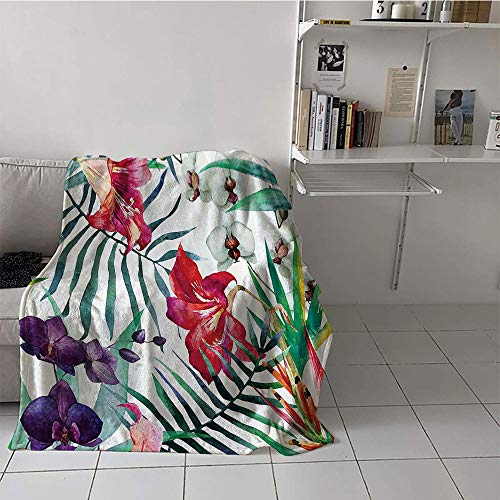(Khaki home Children's Blanket Chair Oversized Travel Throw Cover Blanket (60 by 62 Inch,Watercolor Flower Decor,Tropical Wild Orchid Flowers with Palm Leaves Print Exotic Style Nature Artwork,Multi)