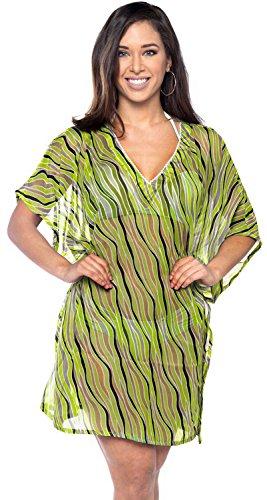 La Leela encubrir ondas playa la gasa mujeres peso ligero boho kaftan v cuello la túnica señoras superiores poncho vestido kimono informal la tarvestido verano ropa playa bikini piscina complejo plus Verde