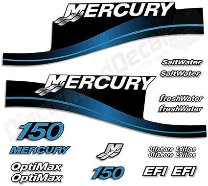 Mercury 150hp SaltWater Edition outboard engine decals BLUE sticker set