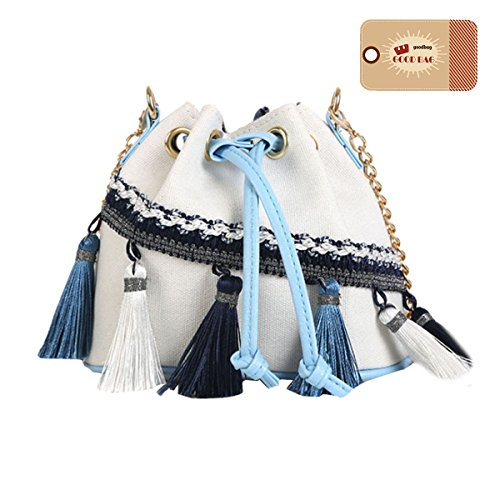 Bag Goodbag Crossbody Ethnic Women Bucket Boutique Style Mini White Bag Drawstring Tassel rqYqxCzRw