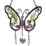 Mom Glass Butterfly Mother Suncatcher With Pressed Flower Wings FREE FREIGHT!