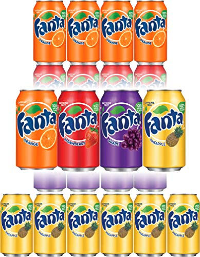 (Fanta Orange, Strawberry, Pineapple, Grape Soda - Variety Pack!, 12 Fl Oz Cans (Pack of 18, Total of 216 Fl Oz))