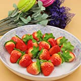 100 Pcs- Plastic Strawberry Artificial Fake Food Fruit Strawberry