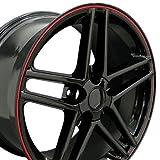 OE Wheels 17 Inch Fit Corvette C6 Z06 Style Black Red Band 17x9.5 Rims SET