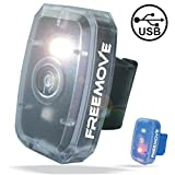 running blinking light - FREEMOVE LED Safety Light | HIGH VISIBILITY RUNNING CYCLING GEAR | 4 Modes Flashing Led Lights Red & White | USB Rechargeable Belt Clip Running Light | Pet Dog Collar Strobe | Bike Tail Warning Light