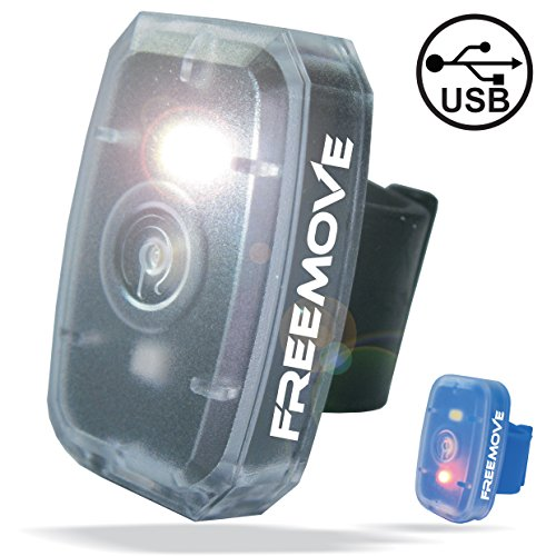 FREEMOVE LED Safety Light | HIGH Visibility Running Cycling Gear | 4 Modes Flashing Led Lights Red & White | USB Rechargeable Belt Clip Running Light | Pet Dog Collar Strobe | Bike Tail Warning Light