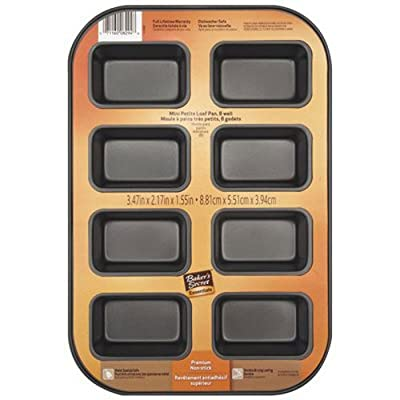 Baker's Secret 1114433 Essentials 8-Well Loaf Pan, Mini, 1-Pack, Black
