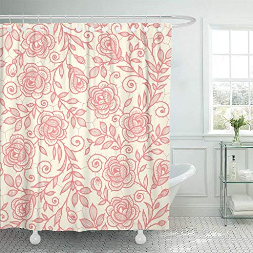 Abaysto Beige Toile Lace Roses Brown Pattern Floral Flower Pastel Polyester Fabric Shower Curtain Sets with Hooks Waterproof Mildew Bathroom Decor