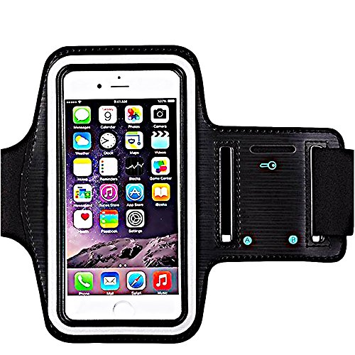 [1 Pack]Premium Water Resistant Sports Armband with Key Holder for iPhone 8 Plus iPhone 7 Plus iPhone 6/6S Plus iPhone 8/7/6S S9 S8 S7 S7 Edge Bundle with Screen Protector Full Access to Touch Screen
