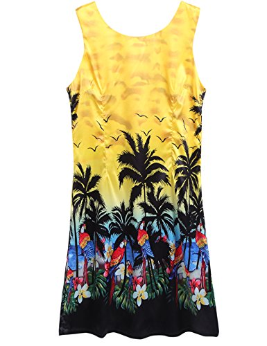 Couple Matching Hawaiian Luau Outfit Aloha Shirt Tank Dress Yellow,XXL - Aloha Dress