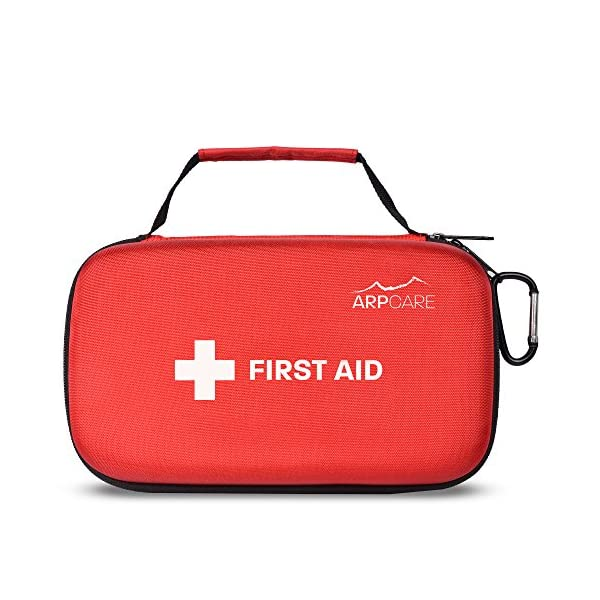 Compact First Aid Medical Kit   121 Piece   Hard Carry Case Perfect For Home, Car, Camping, Office, Travel, Hiking, And Sports, Red