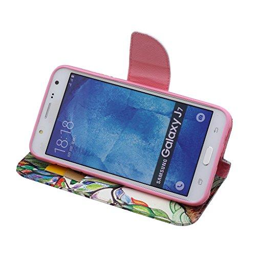 Trumpshop Smartphone Carcasa Funda Protección para Samsung Galaxy J7 (2016) SM-J710 [Dont Touch My Phone (brujo)] PU Cuero Caja Protector Billetera con Cierre magnético Choque Absorción Árbol colorido
