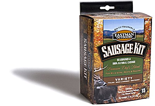 Eastman Outdoors 38661 Variety Sausage Kit for Wild Game, Meats, and Poultry (Makes 15 Pounds Combined Italian, Bratwurst, Beer and Cheddar Includes Natural Hog - Sausage Hi Mountain Kits