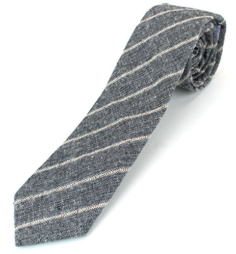 Cotton Tie Linen (Men's Linen Cotton Skinny Necktie Tie Light Beige/White/Brown Pinstripe Pattern - Black)