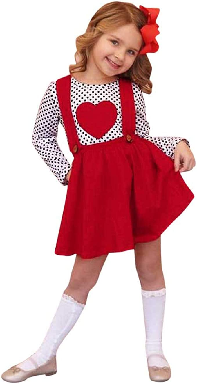 1-6 años Bebé niñas Faldas con Correa roja Dots Heart Camiseta ...