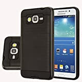 Galaxy J2 Case, Aomax Anti-Shock Brushed Metal Texture Armor case, Dual Layer Protection TPU & PC Hybrid Non-slip Protective Case For Samsung Galaxy J2 SM-J200F (VLS Black)