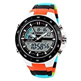 SKMEI Mens Dual Dial Timezone Digital Analog Sports Watch 96 FT Water Resistant Wrist Watch - Multicolor