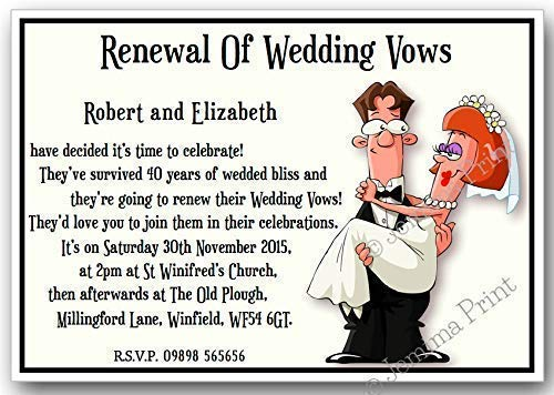 10 personalised funny wedding vow renewal invitations with envelopes