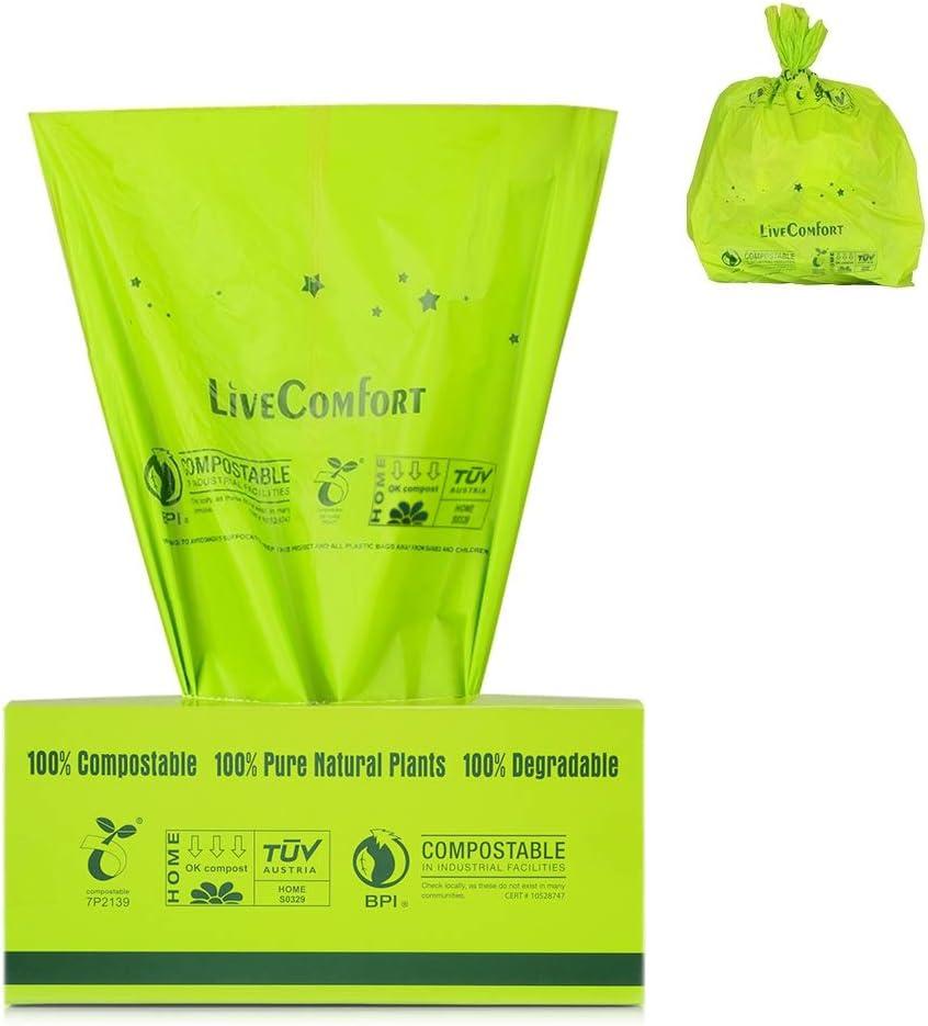 Lirex Bolsas de basura 100% compostables, 2.6 Gallon, con ...
