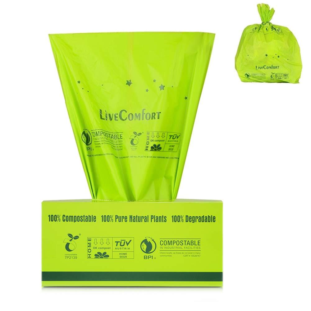 LiveComfort 100% 堆肥化可能バッグ 耐久性 2.6ガロン 米国 BPI&ASTM6400 認定 生分解性廃棄物袋 キッチンゴミ袋 食品スクラップヤード 廃棄物袋 犬用ポーチ 2.6 Gallon - 200 Counts B07GQVB225 Green - No Scent 2.6 Gallon - 200 Counts