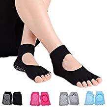 Non-Slip Cotton Yoga Socks for Women on Yoga/Pilates/Gym Exercise with Grip Dots (4 Mix Colors)
