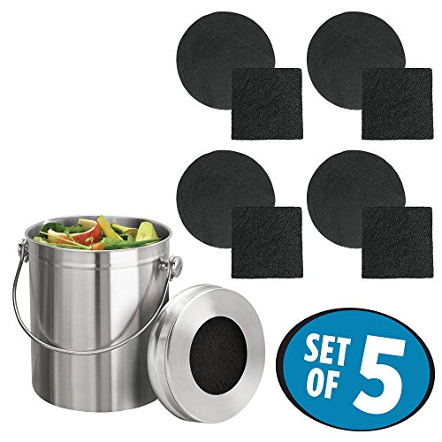 mDesign Stainless Steel Compost Pail Bin with Handle for Kitchen Countertops, Under Sink - 1.3 Gallon - Double Filtration System - Charcoal Replacement Filters Included - Brushed Stainless Steel